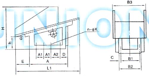 FZC型振动放矿机安装尺寸图