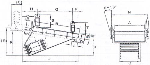 XJG、XJGF惯性共振式给料机外形尺寸图