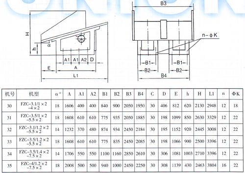 FZC型振动放矿机尺寸图